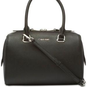 NWT! Calvin Klein Mercy Leather Satchel Black